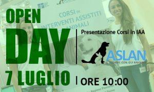 7 LUGLIO, OPEN DAY. PRESENTAZIONE DEI CORSI IN INTERVENTI ASSISTITI CON ANIMALI