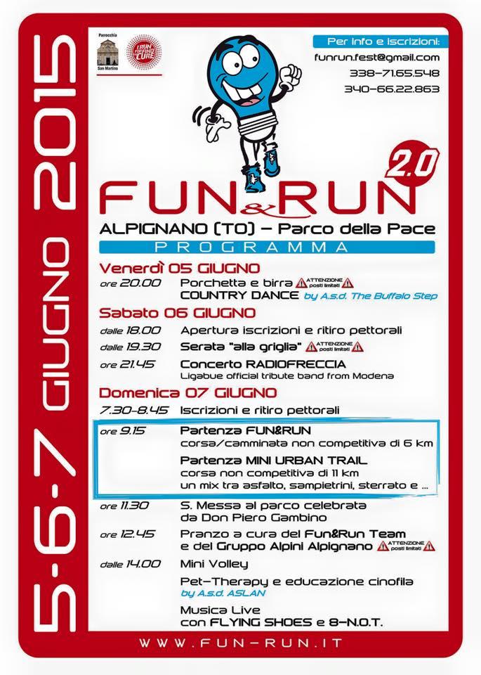 FUN & RUN: 7 Giugno al Parco della Pace di Alpignano