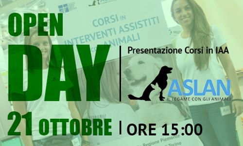 21 OTTOBRE. OPEN DAY: PRESENTAZIONE CORSI IN INTERVENTI ASSISTITI CON ANIMALI