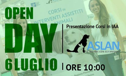 6 LUGLIO, OPEN DAY. PRESENTAZIONE DEI CORSI IN INTERVENTI ASSISTITI CON ANIMALI