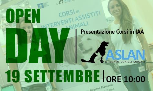 19 SETTEMBRE. OPEN DAY. PRESENTAZIONE DEI CORSI IN INTERVENTI ASSISTITI CON ANIMALI